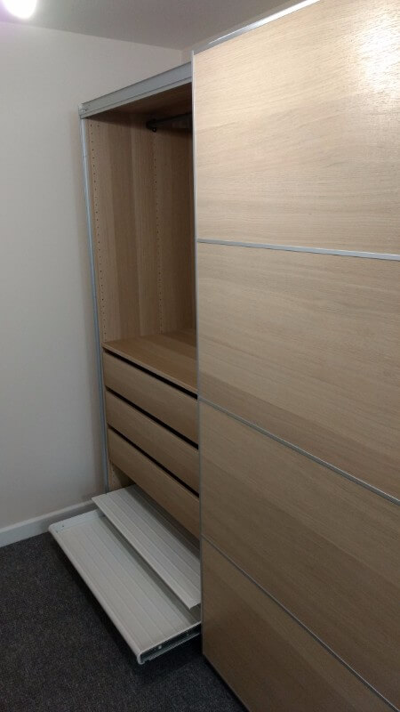 Wood and Mirror IKEA Sliding Wardrobe
